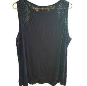 || LANE BRYANT || 22/24 Crochet Black Tank Top
